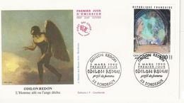 France - Enveloppe 1er Jour - Odilon Redon - L'homme Ailé Ou L'ange Déchu - 1990 - Bordeaux  T. 2635 - 1990-1999