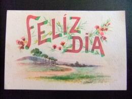 TARJETAS DE FELICIDADES  --  PAISAJE  ARBOLES Y FLORES 1942 - Cumpleaños
