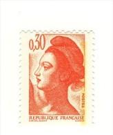 Liberté 0.30fr Orange YT 2182 En GOMME MATE Et PAPIER WHILEY . Pas Courant , Voir Le Scan . Cote Maury N° 2187i : 5 € . - Errors & Oddities