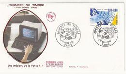 France - Enveloppe 1er Jour - Les Métiers De La Poste - Journées Du Timbre 17-18 Mars 1990 - Paris T. 2639 - 1990-1999