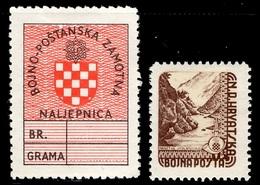 Croatie Deux Timbres Militaires De 1945 Neufs *. B/TB. A Saisir! - Kroatien