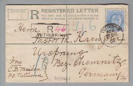 Indien Tuticorin 1904-10-19 R-Brief 2A 6P Nach Ursprung DE - Inde
