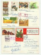 10 FRANCOBOLLI CINA 1967 E 1974  SU CARTOLINA FG - - Used Stamps