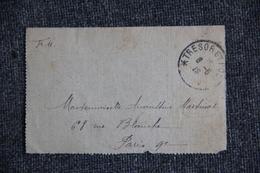 Lettre En Franchise Militaire, Trésor Et Postes Vers PARIS. - Guerre De 1914-18