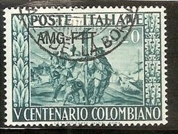 1951 Italia Italy Trieste A  COLOMBO Usata USED - Christopher Columbus