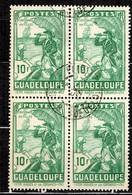 Guadeloupe YT N° 132 En Bloc De Quatre Timbres Oblitérés. B/TB. A Saisir! - Guadeloupe (1884-1947)