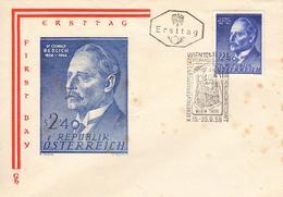 Enveloppe 1er JOUR - Ersttag - DR OSWALD REDLICH 1958-1944  - Wien - S2'40 - Osterreich - Autriche - FDC
