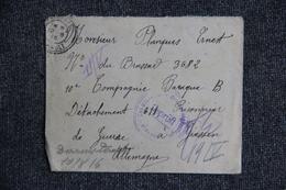 Prisonnier Militaire - Lettre En Franchise Militaire De FAUGERES Vers DARMSTADT  ( ALLEMAGNE). - Guerre De 1914-18