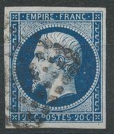 Lot N°41681  N°14Ab Bleu Noir, Oblit, Belles Marges - 1853-1860 Napoléon III