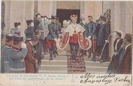 CPA SERBIA SERBIA BELGRADE Le Roi Pierre I Lors De Son Couronnement Carte Colorisée Timbre Stamp - Serbie