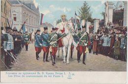 CPA SERBIA SERBIA BELGRADE Le Roi Pierre I Sur Cheval Blanc Lors De Son Couronnement Carte Colorisée 1904 - Serbie