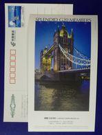 UK London Tower Bridge,Splendid G20 Members,China 2016 G20 Hangzhou Summit Advertising Pre-stamped Card - Bridges