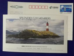 Argentina Ushuaia Lighthouse,Splendid G20 Members,China 2006 G20 Hangzhou Summit Advertising Pre-stamped Card - Lighthouses