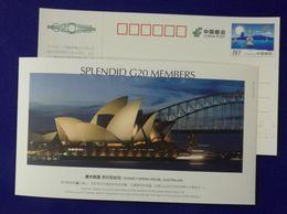 Australia Sydney Opera House,Harbour Bridge,Splendid G20 Members,CN 06 G20 Hangzhou Summit Advert Pre-stamped Card - Bridges