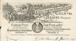 Allemagne - Cöln: Entête 1895 - Hermann Pyhrr -Weingrosshandlung Und Beaune (Burgund). - Germany