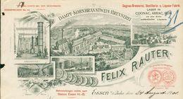 Allemagne - Essen (Rhénanie) - Entête Du 24 Août 1901- Felix Rauter- Dampf - Kornbranntwein - Brennerei.Cognac,arrac,Rum - 1900 – 1949