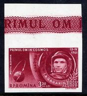 ROMANIA 1961 First Manned Space Flight 3.20 L Imperforate MNH / **.  Michel 1964 - 1948-.... Republics