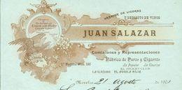 Mexique - Morelia - Entête Del 21 Agosto 1901 - Juan Salazar - Fabrica De Ligores Y Deposito De Vinos - - Invoices & Commercial Documents