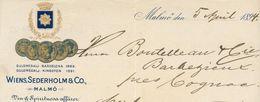 Suède - Malmö - Entête Du 5 April 1894 - Wiens,Sederholm & Co - Winer & Spirituosa Affärer - Invoices & Commercial Documents
