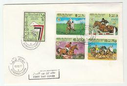 1977 Benghazi  LIBYA FDC Stamps HORSE SPORT EQUESTRIAN International Horse Show Horses Cover - Libya
