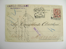"""1905 OGLIANI DA GENOVA A CARTOLINA COMMERCIALE INTESTATA """"SIG. CARLALBERTO ANSELMI PREMIATA FATTORIA VINI MARSALA - - Mercanti"""