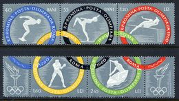 ROMANIA 1960 Olymic Games Perforated Strips MNH / **.  Michel 1853-58A - 1948-.... Republics