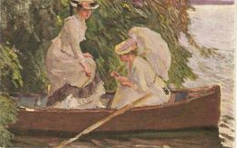 """""""Edw. Cucuel. Two Ladies In A Boat"""" Nice Painting, Antique German Postcard - Mujeres"""