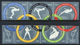 ROMANIA 1960 Olymic Games Imperforate Strips MNH / **.  Michel 1853-58B - 1948-.... Republics