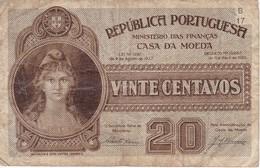 BILLETE DE PORTUGAL DE 20 CENTAVOS DEL AÑO 1925  (BANKNOTE) - Portugal