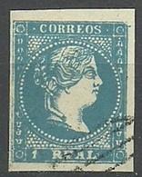 ESPAÑA REINADO ISABEL II  1856-59  1 REAL AZUL  EDIFIL 49 - 1850-68 Regno: Isabella II