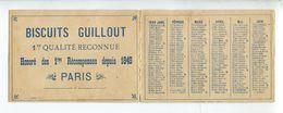 Calendrier 1889 Biscuits Guillout Paris - Calendars
