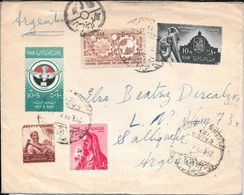 EL CAIRO EGIPTO EGITTO EGYPTE A SALLIQUELO L'ARGENTINE RARISIME CIRCULATION ENVELOPPE AN 1959 5 COLOURS FRANKING - Egypte