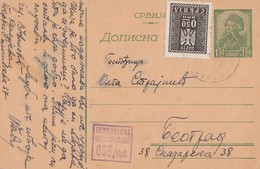 SERBIA - Occupation 1944 - Stationery From Kragujevac To Belgrade - Censored & Porto Stamp - Serbie