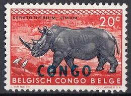 Congo 1960 Sc. 342 Rinoceronte Bianco Cerathoterium Simun Nuovo MNH Overprint - Rhinozerosse