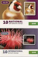 IRELAND, Booklet 175/76, 2013, Goldfinch (10x60c), Beadlet Anemone (10x90c) - Boekjes