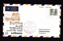 Japan: FFC First Flight Cover To Germany, 1968, 1 Stamp, Lufthansa Dusseldorf-Tokyo Over North Pole (stamp Damaged) - 1926-89 Keizer Hirohito (Showa-tijdperk)
