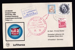 Japan: FFC First Flight Cover To Germany, 1964, 3 Stamps, Lufthansa Fairbanks Frankfurt Anchorage Tokyo (traces Of Use) - 1926-89 Keizer Hirohito (Showa-tijdperk)
