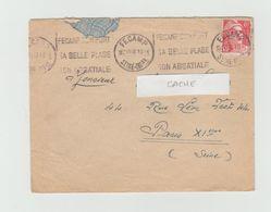 """LSC 1930 - Flamme Et Cachet FECAMP """" Fécamp Son Port Sa Belle Plage Son Abbatiale"""" - Marcophilie (Lettres)"""