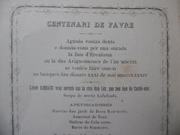 CENTENARI DE FAVRE FELIBRIGE MENU OCCITAN RESTAURANT RIMBAUD RIVES DU LEZ MONTPELLIER 1884 - Documentos Históricos