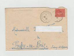 LSC 1930 - Ambulants - Cachet Convoyeur De La Ferté Baucher  à Paris Sur Semeuse + Cachet Hexagonale PRESLES Au Dos - Cachets Manuels