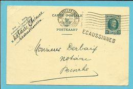 Entier Met Stempel BRUXELLES, Met Naamstempel (Griffe D'origine) ECAUSSINNES - 1922-1927 Houyoux
