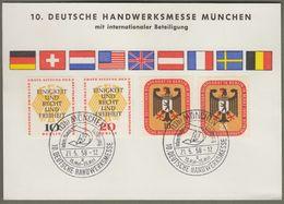 """Berlin: Sonderkarte Mit Mi-Nr. 136-37 U. 174-75 SST, Zu: """" 10. Deutsche Handwerkermesse München 1958 """" !            X - Storia Postale"""