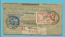 Télégramme Expédié Recomm Affr. Semeuse 145+205 De MAUBEUGE 1929 Pour LIEGE - 1903-60 Semeuse Lignée