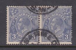 Australia SG 128 1931-36 King George V Three Pence Ultramarine Pair ,used . - Used Stamps