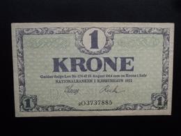 DANEMARK : 1 KRONE  1921  P 12fg   TTB+ - Danemark