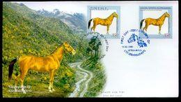 RARE HORSE NAGORNO MOUNTAINOUS KARABAKH ARTSAKH JOINT WITH ARMENIA DOUBLE FDC 2005 20 COPIES ONLY - Armenia