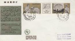 Enveloppe  FDC  1er  Jour   MAROC   10éme  ANNIVERSAIRE    Des   FORCES  ARMEES  ROYALES   1966 - Maroc (1956-...)