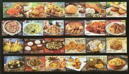 India 2017 Indian Cuisine Regional Festival Foods Meals 24v Se-Tenant MNH - Food