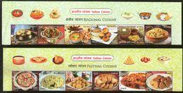 India 2017 Indian Cuisine Regional Festival Foods Meals Upper 24v Se-Tenant MNH - Food