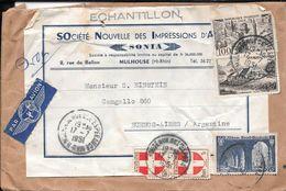 ENVELOPPE CIRCULEE MULHOUSE HT-RHIN SOCIETE NOUVELLE DES IMPRESSINS D'ART SONIA A BUENOS AIRES AN 1951 - France